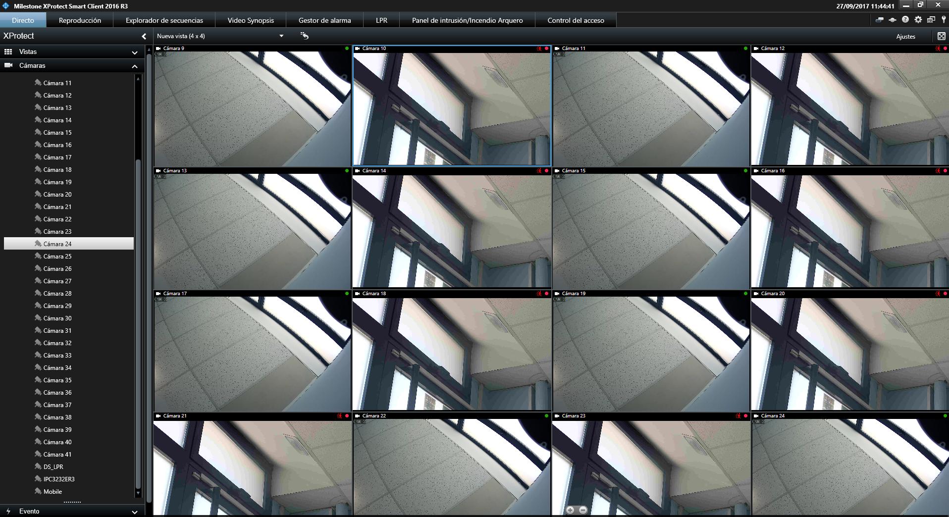 Ejemplo de configuración multicámara de distintas cámaras IP